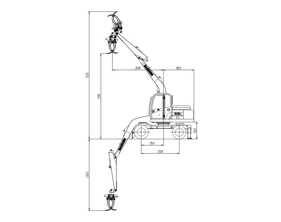 宝鼎轮式95-7多功能抓料机产品工作参数