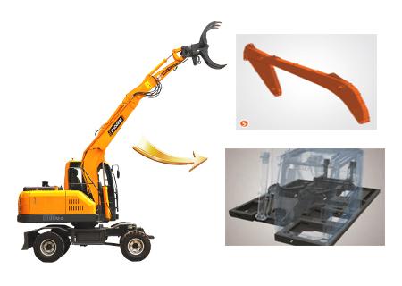 宝鼎BD80W轮式抓木机结构件坚固