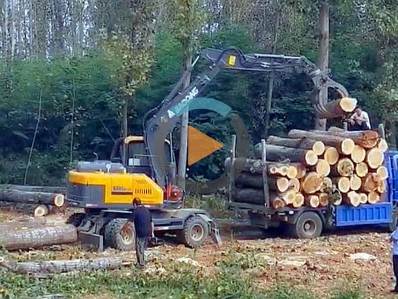 宝鼎95轮式抓木机视频