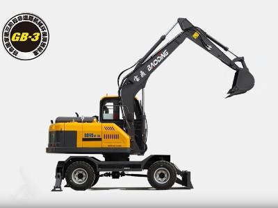 """宝鼎95轮胎式挖掘机:速度快,效率高+多样化功能""""小型轮挖"""""""