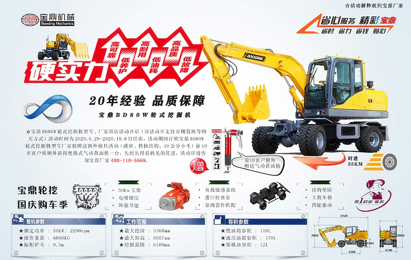 宝鼎BD80W轮式挖掘机价格活动