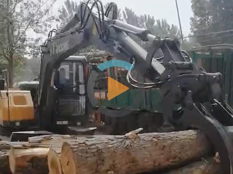 河南抓木机视频卸车视频
