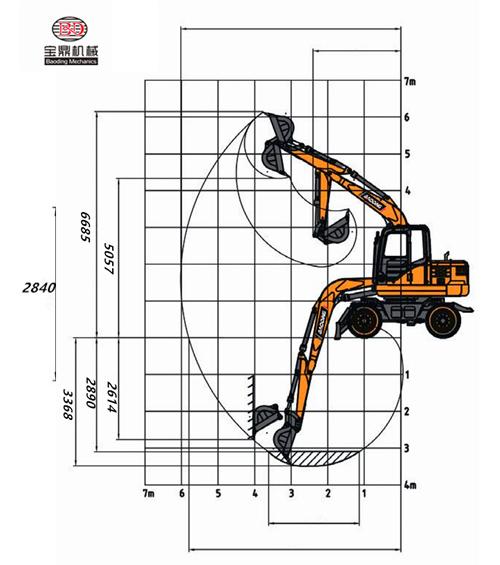 宝鼎BD80W轮式挖掘机尺寸图