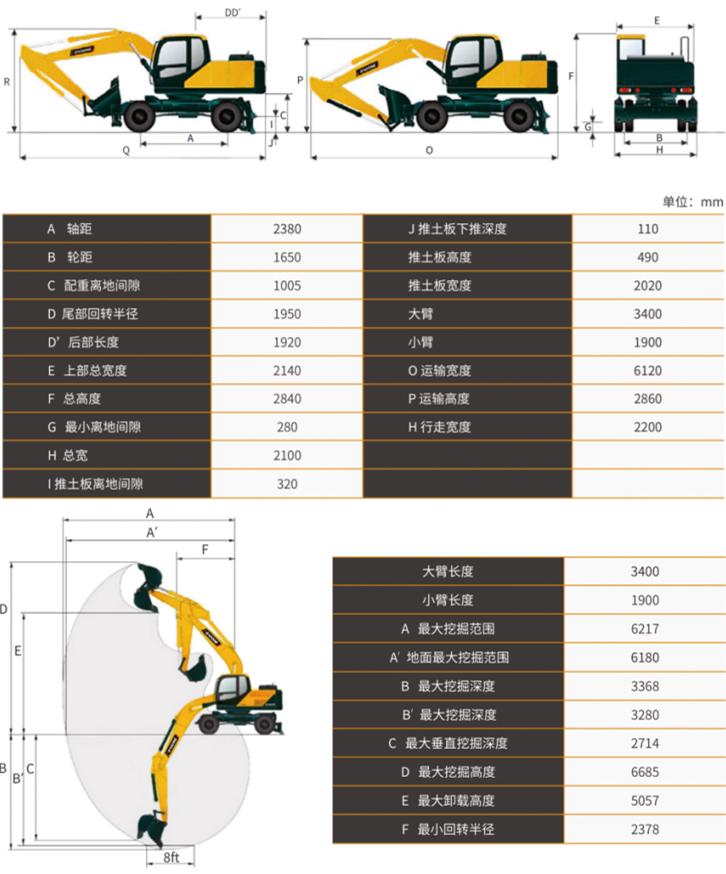 宝鼎80小型轮式挖掘机型号