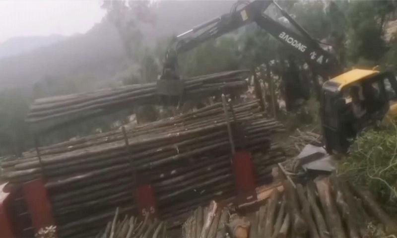 江西宜春抓木机作业