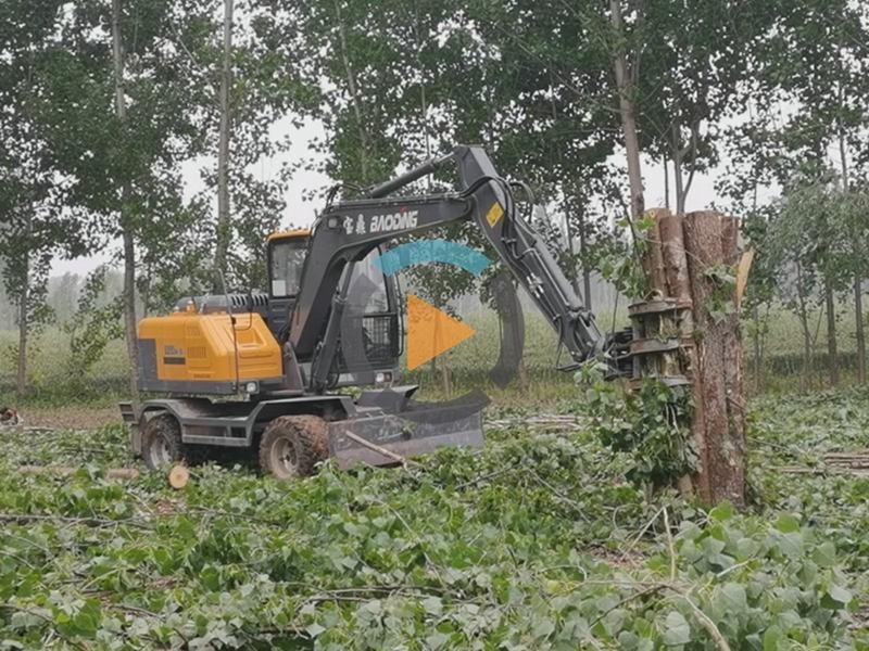 河南轮式抓木机工作视频