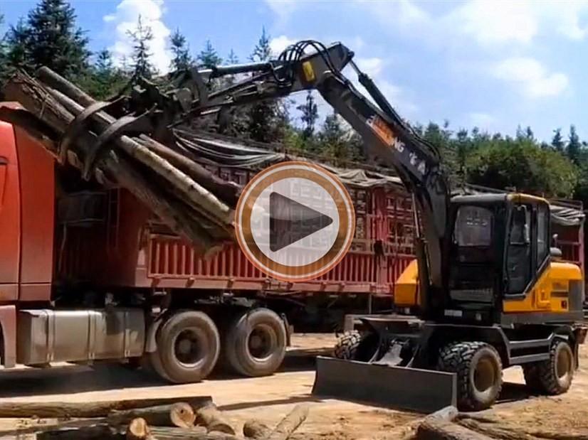 宝鼎轮式挖掘机抓木机厂家产品视频