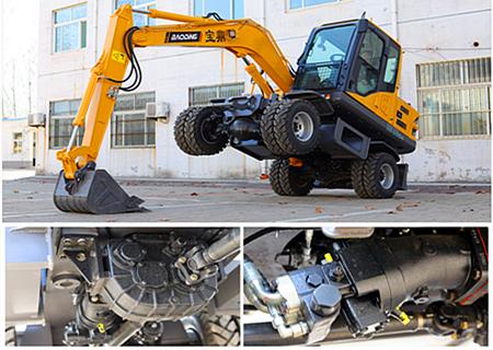 宝鼎BD80W轮式小挖掘机行走系统展示