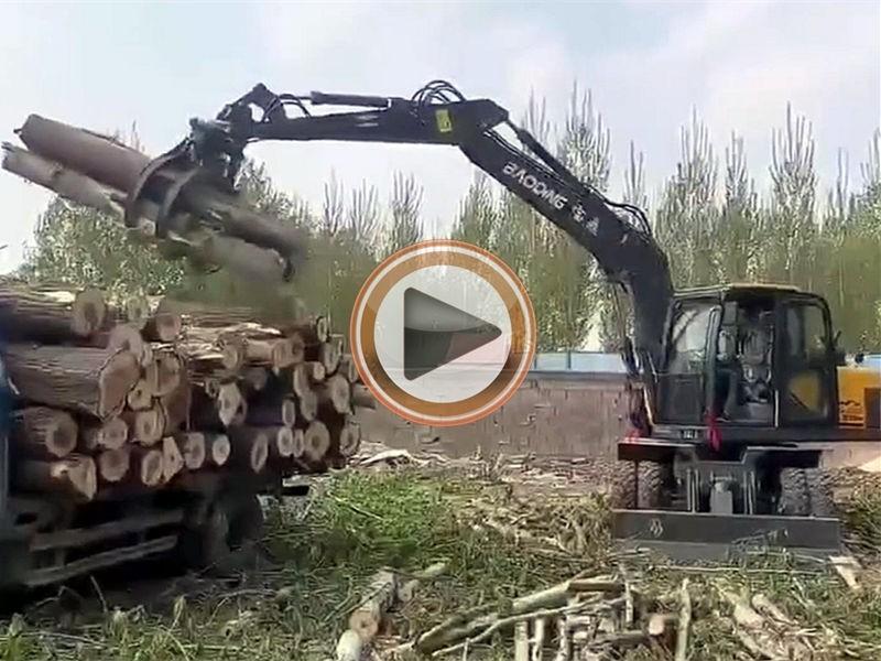 宝鼎105轮式抓木机视频