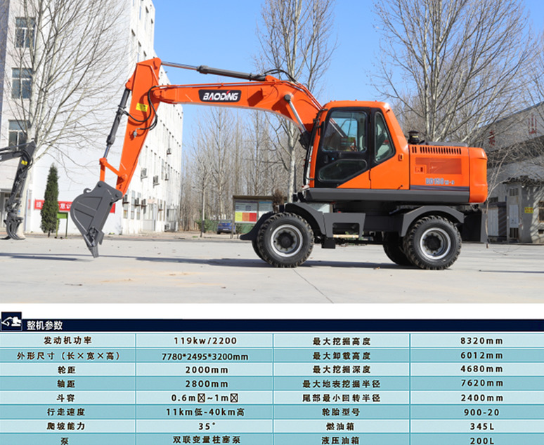 150轮式挖掘机参数