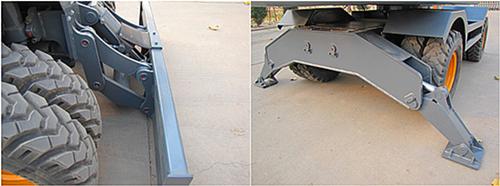 轮式挖掘机前铲后支腿设计