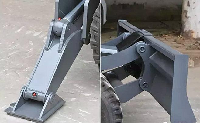 抓木机前铲后支腿设计